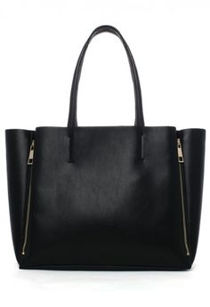 Side Zippers Tote Bag in Black