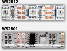 Digitale RGB LED strip - WS2812 (boven) en WS2801 (onder)