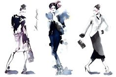 Eduardo/ Week 2: Fashion Illustrator Amelie Hegardt (Sweden)/Watercolour: These illustrations bring out an expressive loose feel through the use of shapes and colours. The silhouettes are quite cohesive in terms of style as it has being drawn with watercolours. Black, blue and purple are the colours that are shown the most, which adds a dark element towards them. The shadows are quite distinctive, as the illustrations are not linear and do not show many line structures in terms of form.