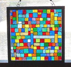 Stained Glass Mosaic Home Decor Window Panel Window Hanging Sun Catcher Suncatcher by BlueMoonMosaics on Etsy