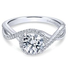 Absolutely love my engagement ring! Stunning Gabriel - Courtney 14k White Gold Round Halo Engagement Ring