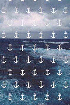 Anchors and Ocean - Nautical iPhone Wallpaper