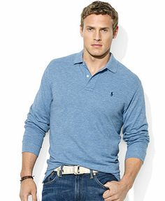 Polo Ralph Lauren Big and Tall Shirt, Classic-Fit Long-Sleeve Cotton Mesh