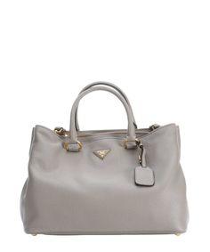 Prada grey leather convertible tote bag