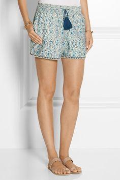 Talitha - Printed cotton and silk-blend shorts Ancient Greek Sandals, Beaded Trim, Paisley Pattern, Workout Shorts, Printed Cotton, Smocking, Stella Mccartney, Royal Blue, Casual Shorts