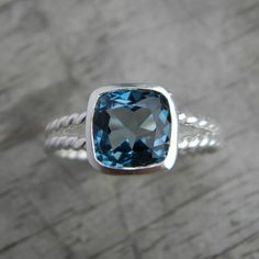 Size 6.5  Ready to Ship, London Blue Topaz Gemstone Ring in Recycled and Tarnish Resistant Sterling, Cushion Cut Silver Ring.  this color!