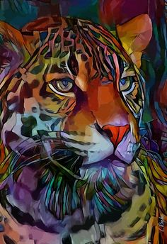 Colorful Animals, Unique Animals, Portraits Pop Art, Big Cats Art, Tiger Painting, Black Cat Art, Art En Ligne, Wildlife Paintings, Beautiful Nature Wallpaper