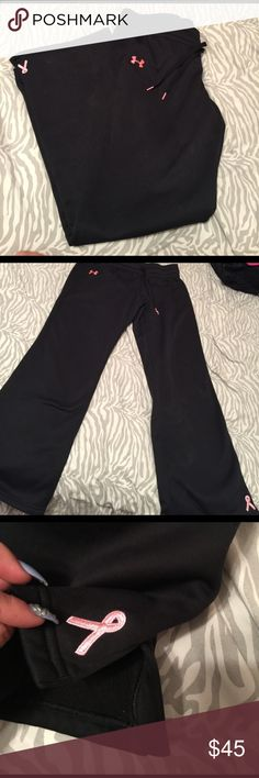 Under armor sweatpants Breast Cancer ed. Under armor sweatpants breast cancer edition size medium good condition Under Armour Pants Track Pants & Joggers