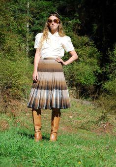 VTG Wollrock Schottenkaro / HIGHLAND Dame hoch taillierte plissierten Rock, hergestellt In Kanada Knielanger Rock Midi / Teacher Sekretärin Rock Sm MED