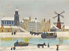 Ciudad con molino cerca del canal en invierno