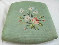 Antique Victorian Green Needlepoint Flowers Chair Seat
