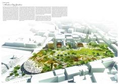 Aberdeen city garden design competition entry – bird's eye view.  Maybe sketchup or rhino with photoshopped plan.