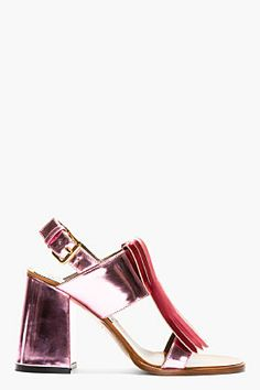 MARNI EDITION Pink Patent Leather Heeled Sandals