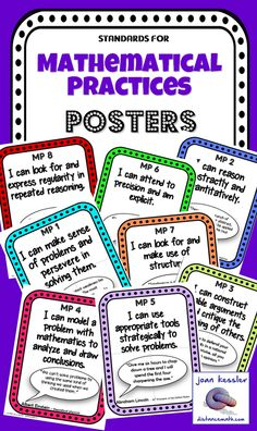 Freebie!! The Standards for Mathematical Practice Posters with Famous Quotes. Introducing the Common Core State Standards to your students is no easy task. These posters provide a simple and effective way to illustrate to your students the Mathematical Practices which they can strive for in their understanding of mathematical concepts. They can be an excellent source of discussion. This resource includes all 8 standards for Mathematical Practices.