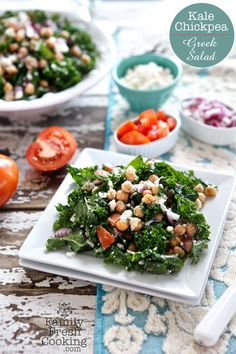 Kale Chickpea Greek Salad | FamilyFreshCooking.com