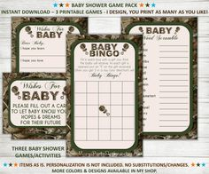 Instant Download 3 Game Pack - Hunting Camo Baby Shower Games/Activities on Etsy, $7.50