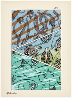 Art deco patterns from Oceanic Fantasies, by E H Raskin, Pattern Drafting, Art Deco, Textures Patterns, Ocean, Architecture, Inspiration, Vintage, Fantasy, Painted Canvas