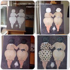 Van houtskooltekening naar acrylverf schilderij. Mijn dikke dames
