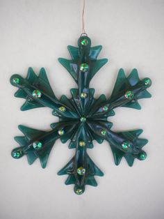 Fused Glass Snowflake - Green