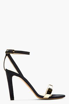 Chloe Navy Suede Heeled Sandals for women | SSENSE