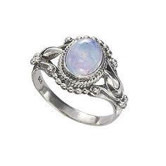 Antiqued Sterling rainbow moonstone ring (pyramid collection)
