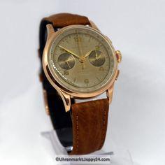 Mechanischer Schweizer Chronograph 1950 Handaufzug 18 Karat Roségold- Chronograph, Gold, Watches, Leather, Accessories, Find Friends, Elevator, Swiss Guard, Wrist Watches