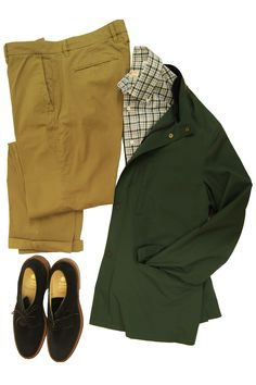Luciano Barbera Hunter Green Travel Jacket, Luciano Barbera White Green & Blue Plaid Shirt, and Alden Navy Suede Dover Shoe