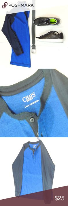 Classic Blue Henley by Chaps Sport Brand new, it is not fitted, but falls naturally when wearing it. Chaps Shirts Tees - Long Sleeve