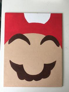 Canvas art work by CKoeneke. Mario, Luigi, NES, video game Super Mario Bros. Minimalistic