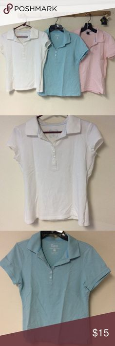3 Polos (Bass & LizClaiborne) -Size Small & Medium Bundle of 3 Polos in white, light blue, and light pink! Size Small for white polo (Bass), medium for light blue (Bass), and medium for light pink (Liz Claiborne). Good condition for all - sorry about the wrinkles, they've been in storage for a while. Nice solid, basic polos! If you're interested in only one or 2 polos, let me know and I can sell them separate! Bass Tops Blouses