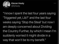 """""""I know I spent the last four years saying 'Triggered yet, Lib?' and the last four weeks saying 'Stop the Steal' but now I am deeply concerned about Dividing the Country Further, by which I mean I'm suddenly worried it might divide in a way that won't be to my benefit."""" ~ @kjhealy Political Sociology, Politics, Deconstruction, Then And Now, Suddenly, I Know, No Worries, Divider"""