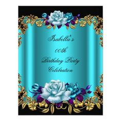428 best blue purple birthday party invitations images on pinterest elegant golden teal blue purple roses birthday invitation filmwisefo