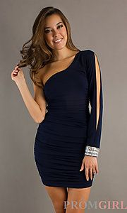 Short Blue One Shoulder Split Sleeve Dress