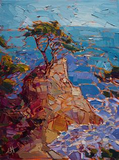 Lone Cypress original oil painting of Monterey, Califrornia, by contemporary impressionism artist Erin Hanson.