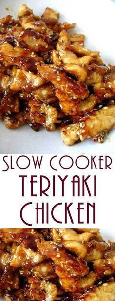 Serve this Slow Cooker Teriyaki Chicken over rice, you don't want any of that delicious, sticky sauce going to waste. #slowcooker #chickenrecipe #slowcookerchicken #dinnerideas #chickenfoodrecipes