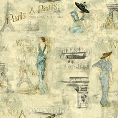 For the walk in Closet - York Wallcoverings Europa II Weekend In Paris Prepasted Wallpaper, Dove Grey/Aqua Blues/Brown York Papel Vintage, Decoupage Vintage, Vintage Paper, Vintage Clip, Vintage Ephemera, Printable Pictures, Printable Art, Free Printables, Owl Clip Art
