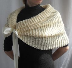 Hand Knit Bridal Wrap Shrug Wedding Wrap CapletBolero by vinevirak