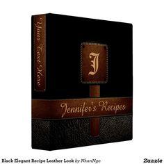 Black Elegant Recipe Leather Look 3 Ring Binder