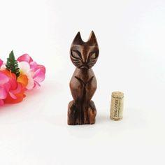 Tiki Cat Alii Woods Honolulu Mid Century Modern Hand Carved 6 in Retro Figurine