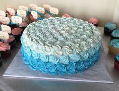 Teal ombré flower cake. Bridal shower.