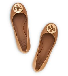 Tory Burch - REVA TUMBLED LEATHER BALLET FLAT - ROYAL TAN/GOLD