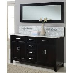 Direct Vanity 63 Inch Hutton Spa Premiun Ebony Double Bathroom Vanity Sink  Console By Direct Vanity Sink