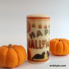 Happy Halloween Candle, Halloween Decor, Jack o Lantern, Halloween Decoration, Black Cats Mantel Decor Vintage Halloween Image Pillar Candle - http://evilstyle.com/happy-halloween-candle-halloween-decor-jack-o-lantern-halloween-decoration-black-cats-mantel-decor-vintage-halloween-image-pillar-candle