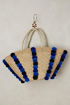 For the Love of Pom Poms – Southern Curls & Pearls Southern Curls And Pearls, Straw Tote, Ulla Johnson, White Pants, Crochet Clothes, Bag Accessories, Espadrilles, Handbags, Purses