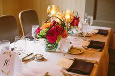 Table setup and flower arrangement at Circa 1886 Restaurant wedding.