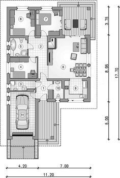 Tip Top III. Parterowy dom z czterospadowym dachem i tarasem - Studio Atrium Model House Plan, House Plans, Tip Top, Interior Design Sketches, Ranch, Floor Plans, Flooring, How To Plan, Studio