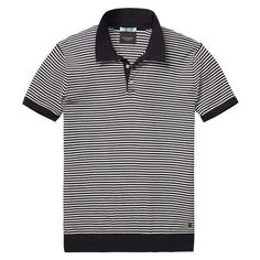 Navy and White Striped Knit Polo #scotchandsoda #navystriped #poloshirt…