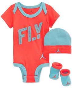 Jordan Baby Girls\' 3-Piece FLY Bodysuit, Hat & Booties Set - Kids & Baby - Macy\'s