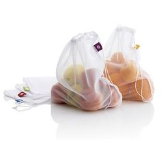 Reusable, machine washable veggie bags go from grocery to fridge, eliminating the need for wasteful plastic disposables and color-coding your produce.