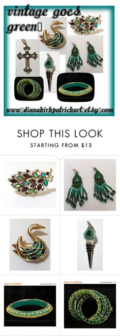 """""""Vintage goes Green"""" by diana-32 on Polyvore featuring Sarah Coventry and vintage"""